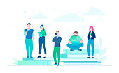 Business colleagues - flat design style colorful illustration on white background. A composition with office managers working on a project, sitting and standing on big books, drinking coffee