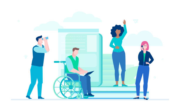 Business colleagues - flat design style illustration Business colleagues - flat design style illustration on white background. A composition with managers with different physical abilities and nationalities working, person in a wheelchair with a laptop coworker stock illustrations