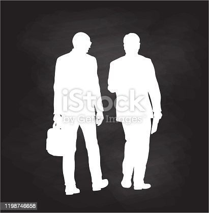 istock Business Colleagues Walking Silhouettes Chalkboard 1198746658