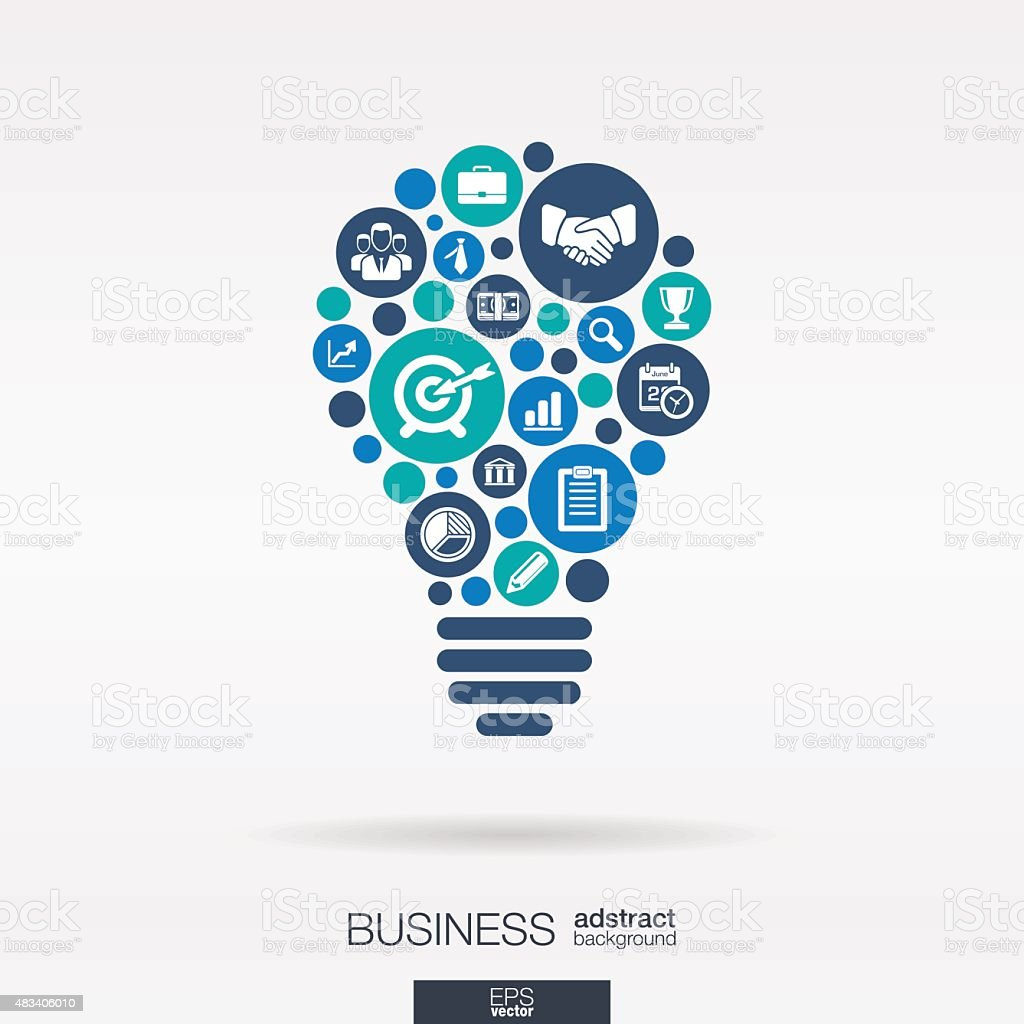 Business color icons idea bulb shape abstract background: vector illustration. vector art illustration