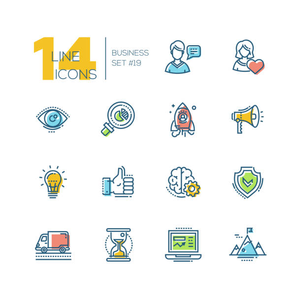 Business - colored modern single line icons set Business - colored vector modern single line icons set. Man, woman, eye, magnifying glass, hourglass, laptop, brain, ok symbol, mountain, speaker, spaceship. conceptual symbol stock illustrations