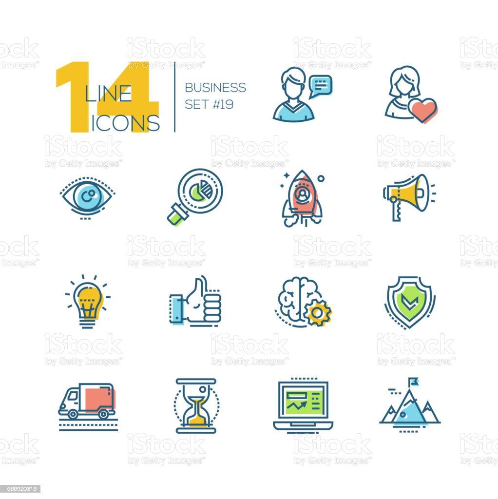 Business - colored modern single line icons set vector art illustration