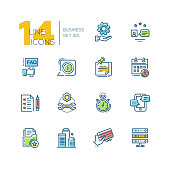 Business - colored vector modern single line icons set. Gear, faq, message, calendar, clip note, building, drive, timer, tablet, checklist, credit card.
