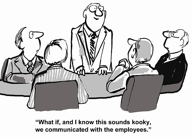 business communication, change management and conflict resolution - old man funny cartoon stock illustrations, clip art, cartoons, & icons