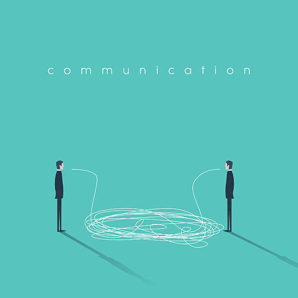 business communication concept illustration with tangled lines. businessmen having conversation - communication problems stock illustrations, clip art, cartoons, & icons