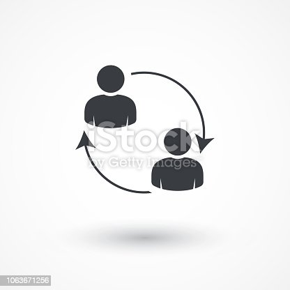 Business communication. Conceptual illustration. Profile users connected icon. Social icons. Men exchanging symbol. Flat style design icon