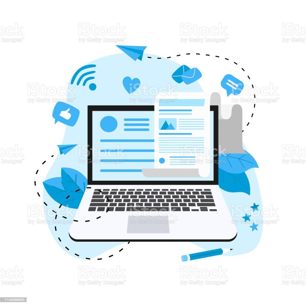 Business, Kommunikation, Internet-Blogging-Post. Flachdesign Vektordarstellung. - Lizenzfrei Artikel - Publikation Vektorgrafik