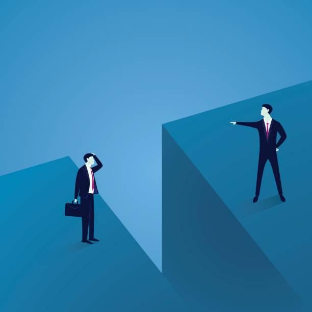business communication problem. two businessmen separated by large gap - communication problems stock illustrations, clip art, cartoons, & icons