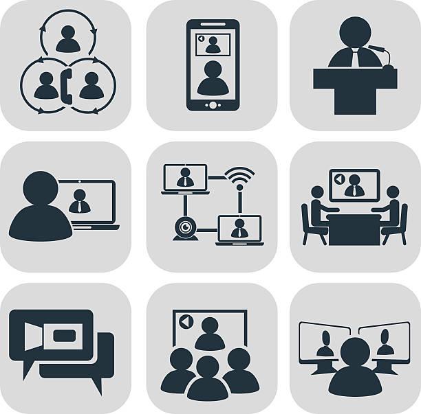 illustrations, cliparts, dessins animés et icônes de business communication. video conference - visioconférence