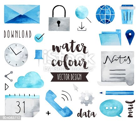 Premium quality watercolor icons set of global communication, business connection. Hand drawn realistic vector decoration with text lettering. Flat lay watercolour objects isolated on white background.
