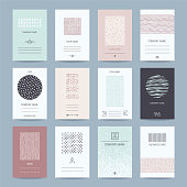 Company, individual business cards. Creative templates collection of card, banner, brochure with hand drawn textures, brush strokes, trendy thin line symbols, geometric illustrations. Isolated vector.