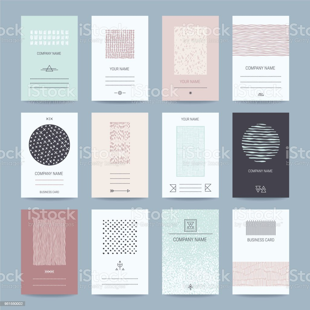 Business, Company Cards Templates Collection vector art illustration