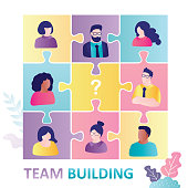 Business company forms new team. Cartoon men and women in puzzle pieces. Firm looking for new employee to crew. Concept of team building, partnership and collaboration. Trendy flat vector illustration