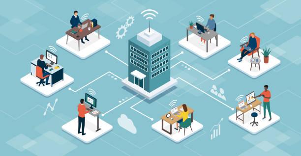 ilustrações de stock, clip art, desenhos animados e ícones de business company managing telework online - teletrabalho