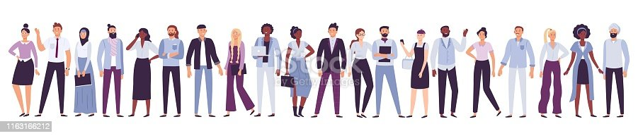 Business company people. Office team, multicultural collective workers group and businessman community. Diverse multinational freelancers, persons on job business party vector illustration