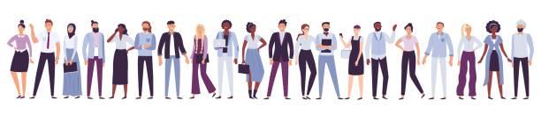 ilustrações de stock, clip art, desenhos animados e ícones de business company people. office team, multicultural collective workers group and businessman community vector illustration - gesticular