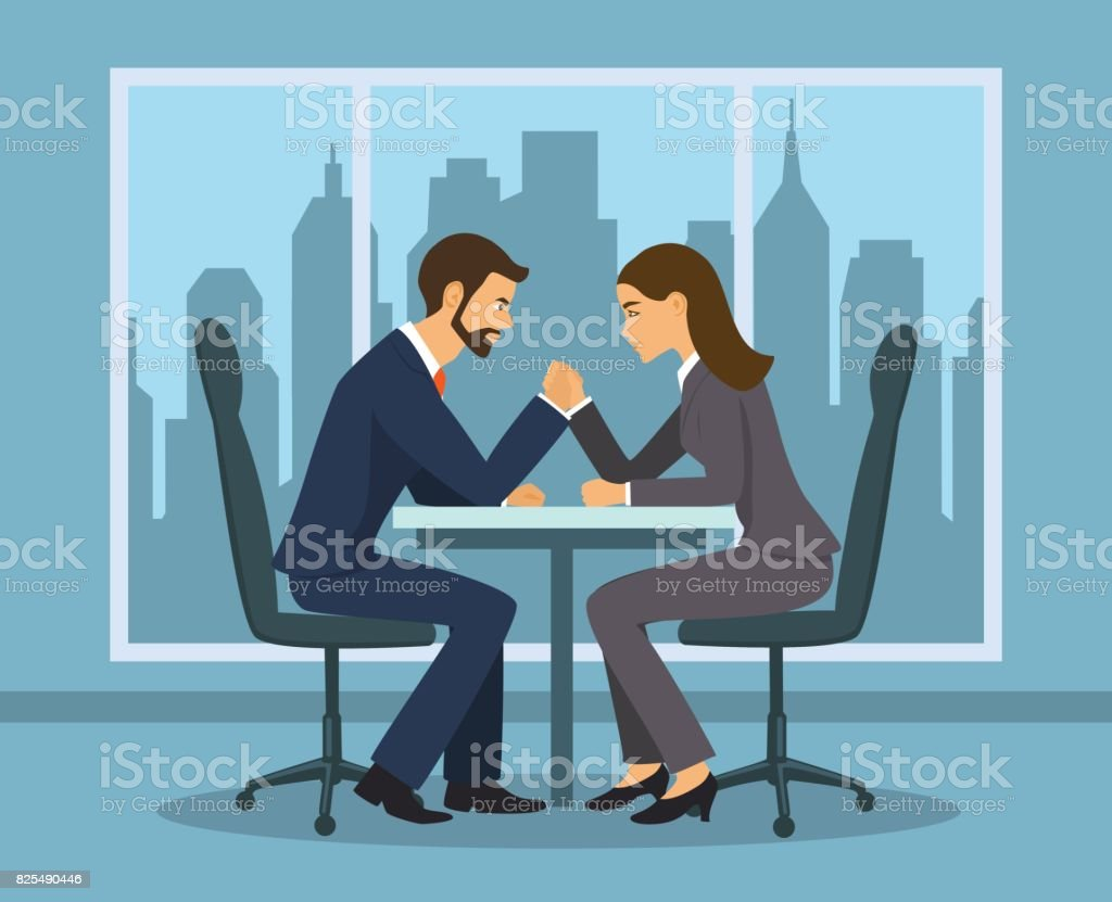 Business competition concept . Businessman and businesswoman arm wrestling in the office vector art illustration