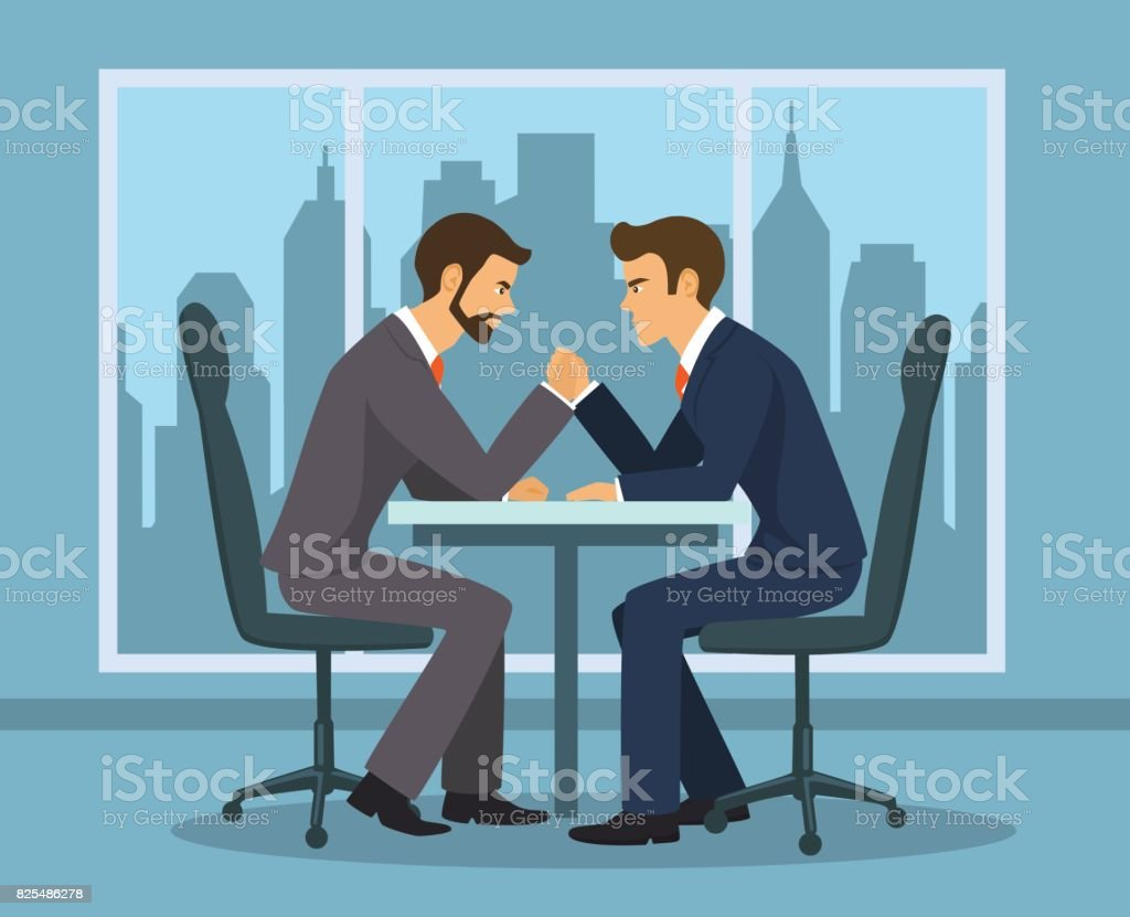 Business competition concept . Two businessman, employee arm wrestling in the office vector art illustration