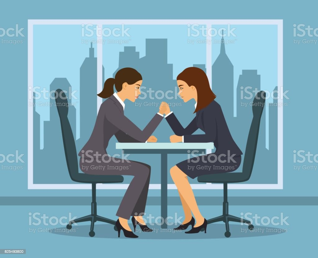 Business competition concept . Two businesswoman, employee arm wrestling in the office vector art illustration