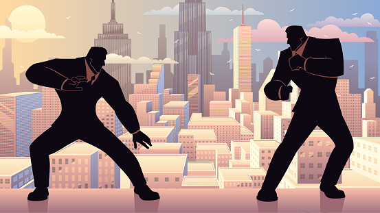 Concept illustration for competition in business, depicting two businessmen fighting like video game characters.