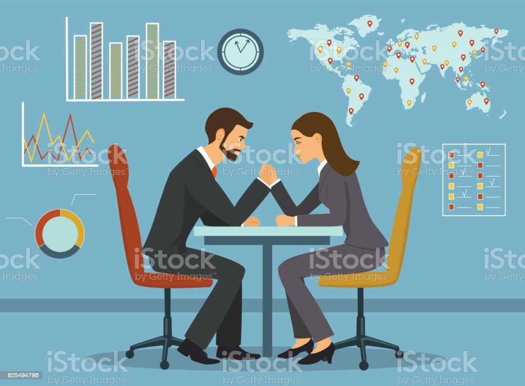 Business competition concept vector illustration. Businessman and businesswoman arm wrestling in the office vector art illustration