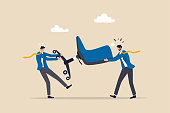 istock Business competition, fight or compete for vacancy, job promotion or career development concept, businessmen competitor fight and pulling office management chair. 1307362699