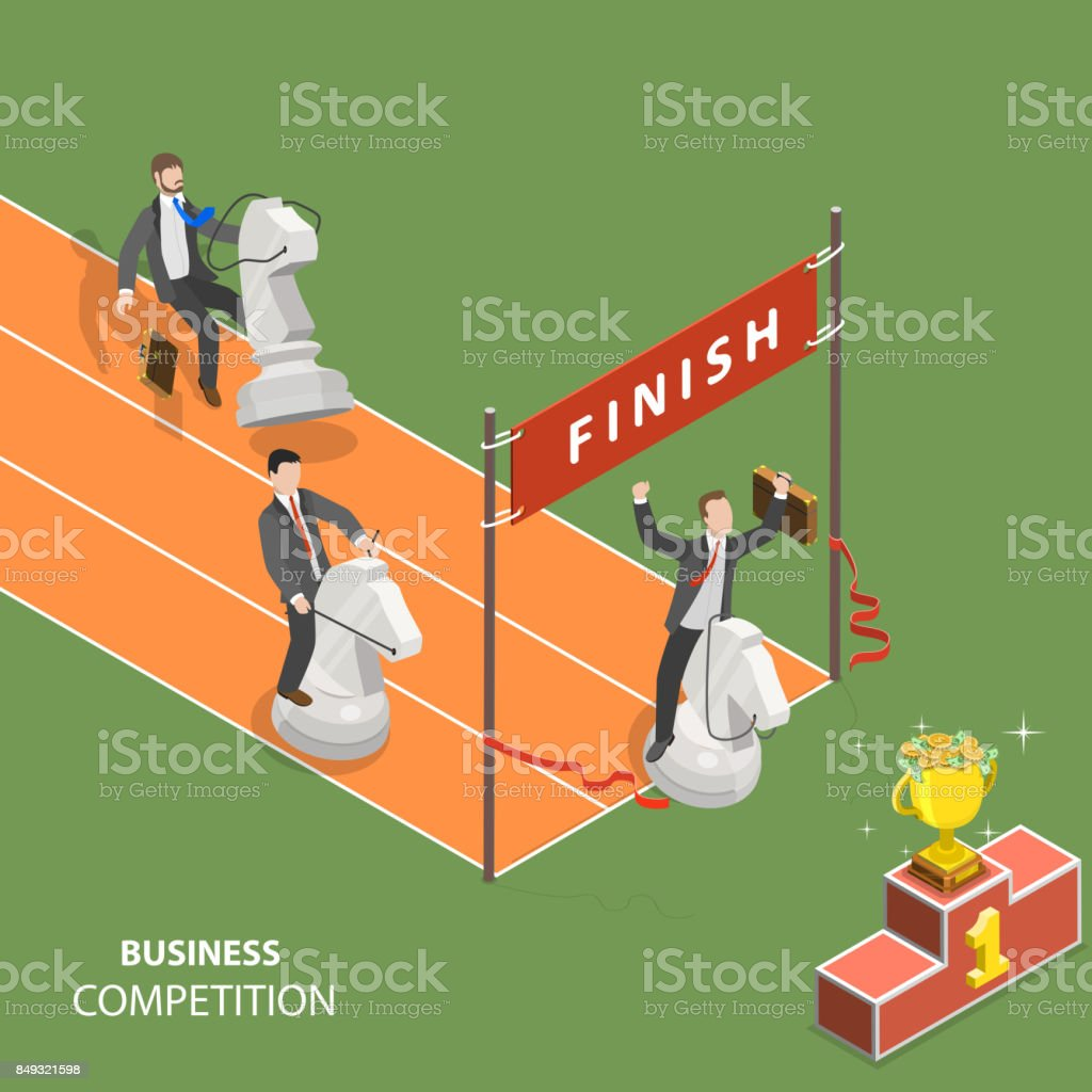Business competition flat isometric low poly vector concept. vector art illustration