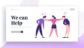 Business Competition for Leadership, Challenge Different Point of View Landing Page Template. Businesswoman Mediator Trying to Stop Arguing Businessmen Characters. Cartoon People Vector Illustration
