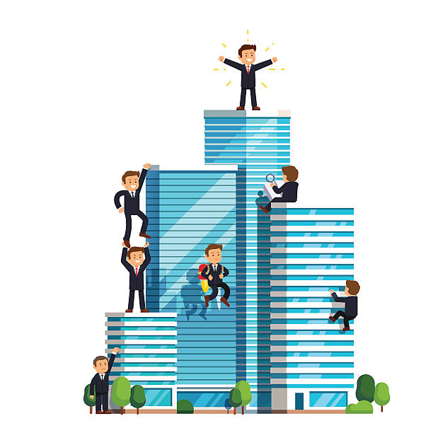 Business competition in achieving success Business ascension competition in achieving success. Little businessman climbing high wall street skyscrapers to reach the top and win. Flat style vector illustration isolated on white background. wall street stock illustrations