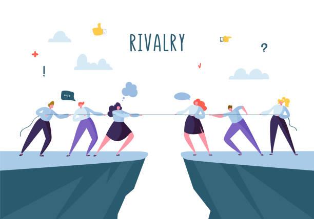 ilustrações, clipart, desenhos animados e ícones de competição de negócios, conceito de rivalidade. personagens de plano de negócios de pessoas puxando a corda. conflito corporativo. ilustração vetorial - competição