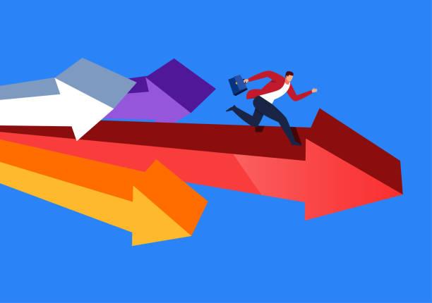 illustrations, cliparts, dessins animés et icônes de concurrence d'affaires - décoller activité