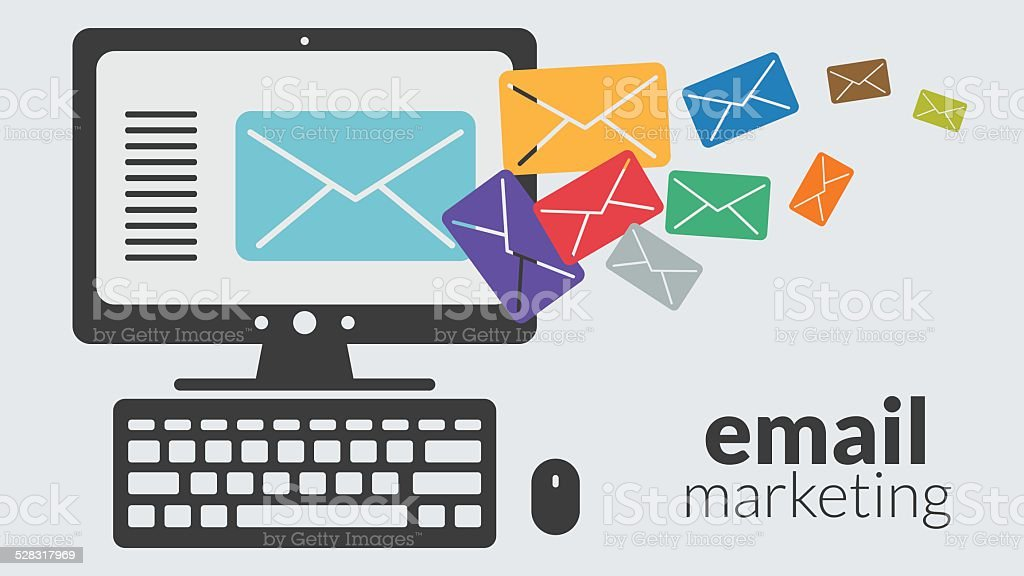Business computer with email marketing. Vector online advertising vector art illustration