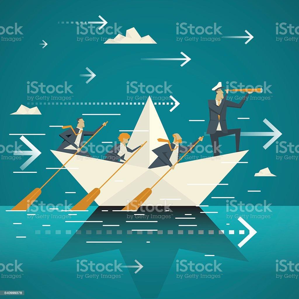 Geschäftskonzept. Business-Team gemeinsam dem Boot Rudern auf das Meer. – Vektorgrafik