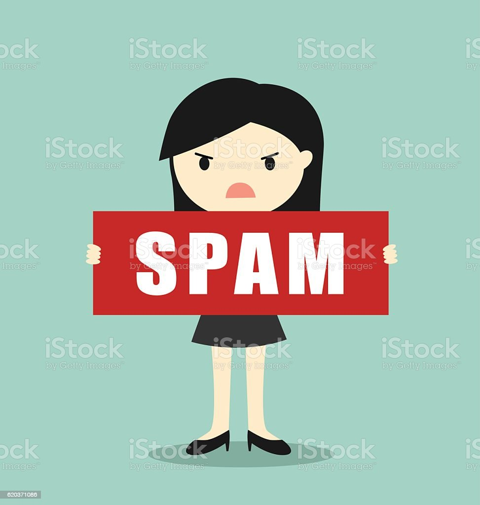 Business concept, Business woman holding 'SPAM' banner. business concept business woman holding spam banner - arte vetorial de stock e mais imagens de adulto royalty-free