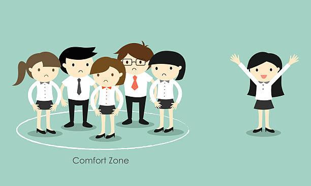 ilustraciones, imágenes clip art, dibujos animados e iconos de stock de concepto del negocio, mujer de negocios de pie fuera de la zona de confort. - comfortable