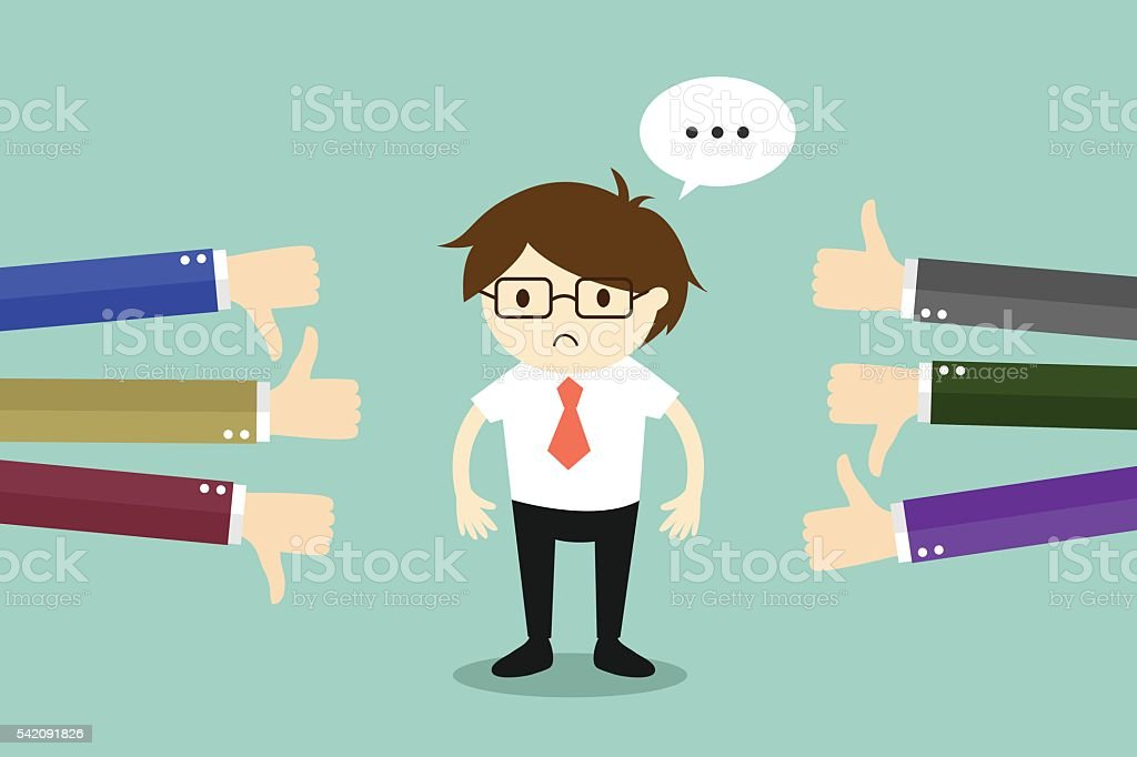 Business concept, Businessman get feedback from other people. vector art illustration