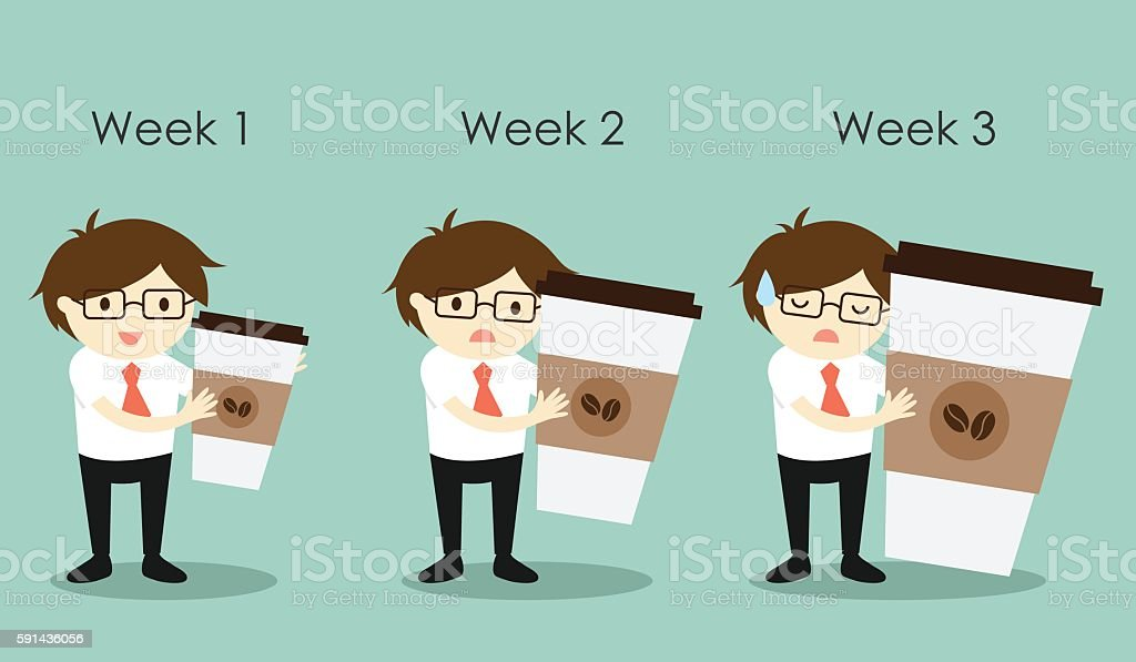 Business concept, Businessman holding different size of coffee cups. vector art illustration