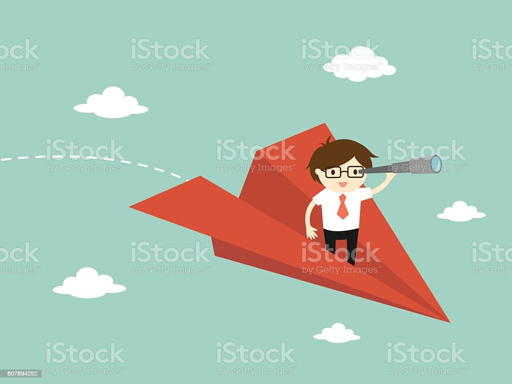 Business concept, Businessman is flying while using telescope. vector art illustration