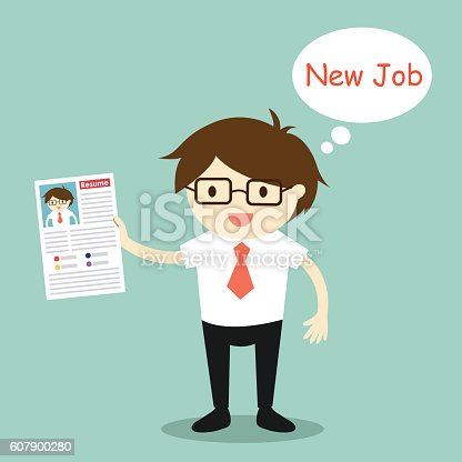 Business concept, Businessman is going to send his resume. Vector illustration.