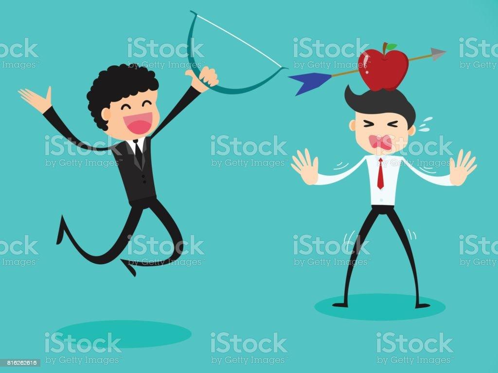 business concept, Businessman shooting an arrow at an apple on head. vector art illustration