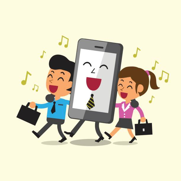 business concept cartoon business team and smartphone walking and singing together - post it notes stock illustrations