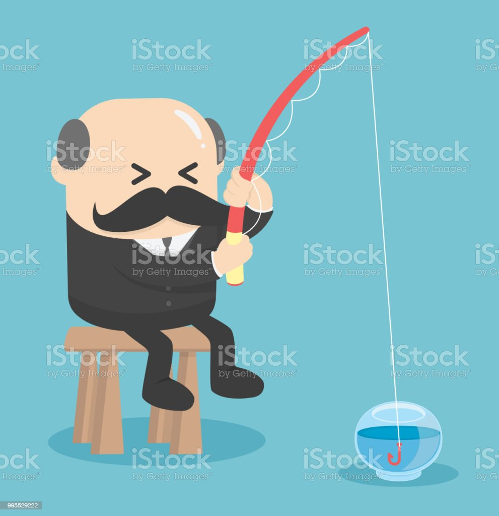 Business Concept Cartoon  fishing in the empty fish tank .worthless.Useless vector art illustration