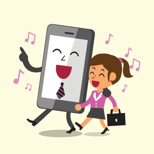 business concept cartoon smartphone and a businesswoman walking and singing together - post it notes stock illustrations