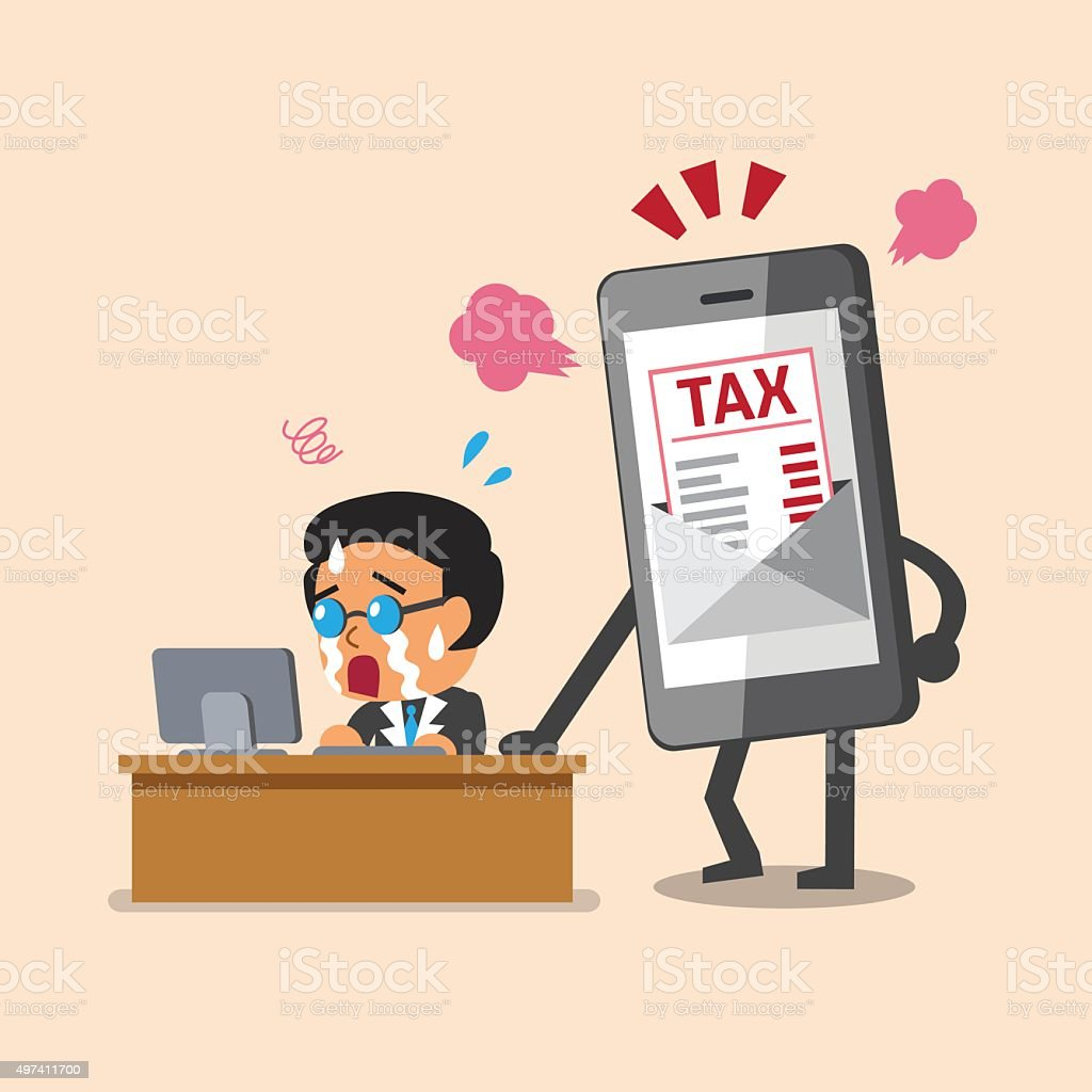 Business concept cartoon smartphone show tax letter to business man vector art illustration