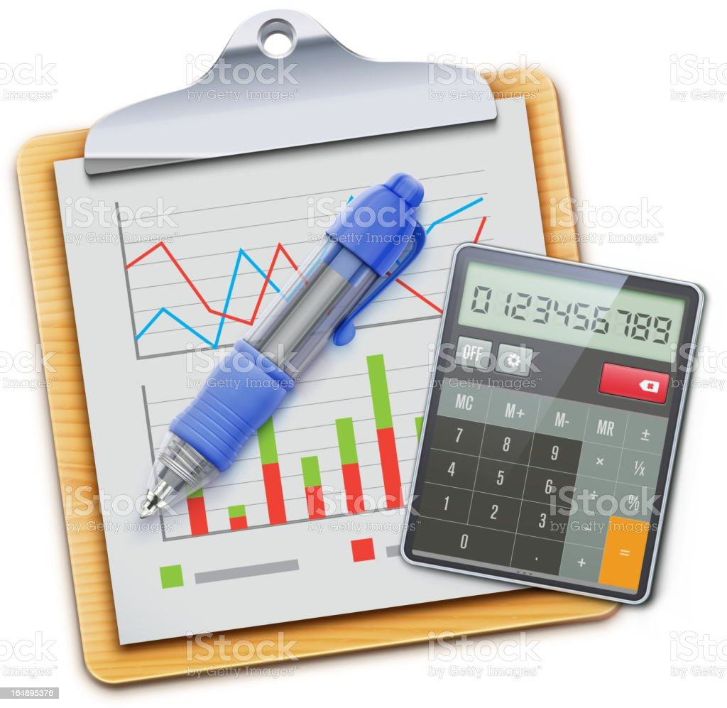 Business concept comprised of calculator, own, and graphs royalty-free stock vector art