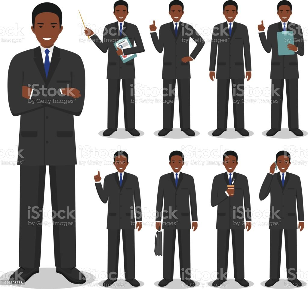 Business concept. Detailed illustration of african american businessman standing in different positions in flat style isolated on white background. Vector illustration. vector art illustration