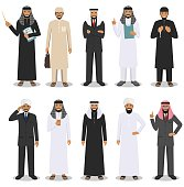 Business concept. Detailed illustration of different muslim or indian businessmen standing in diverse positions in flat style isolated on white background. Vector illustration.