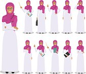 Detailed illustration of muslim arabian businesswoman standing in different positions in flat style on white background.