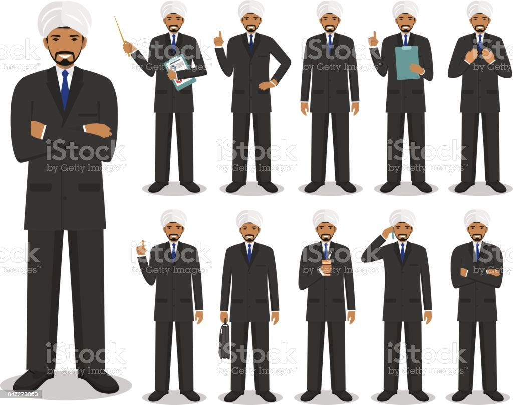 Business concept. Detailed illustration of muslim or indian businessman standing in different positions in flat style isolated on white background. Vector illustration. vector art illustration