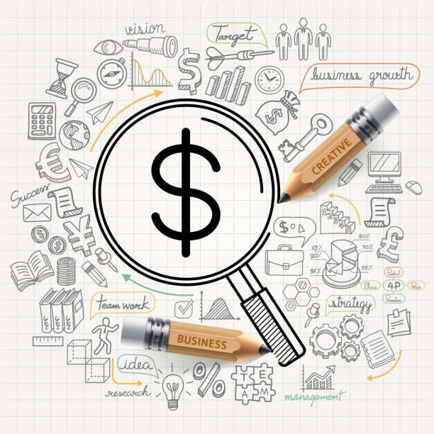 Business concept doodles icons set. Business concept doodles icons set.  banking drawings stock illustrations